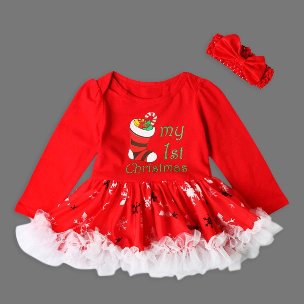 Christmas Gift Toddler Newborn Baby Girls Princess Letter Tutu Dress Xmas Outfits Set By Pocciol Baby My First Christmas Hot Sale 6-12M, D