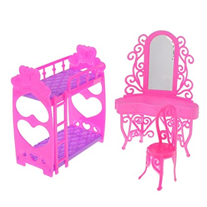 Fityle Dolls House Furniture Dresser Chair Set Bunk Bed With Ladder For  Dolls
