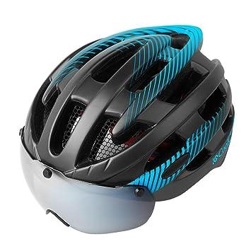 Su-luoyu Casco de ciclismo con gafas Gafas de bicicleta de montaña al aire libre