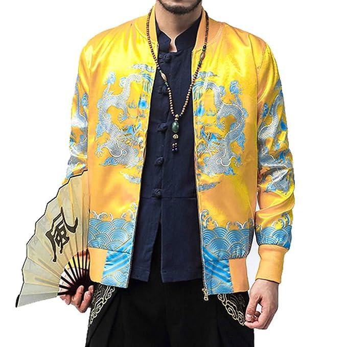 Internet-Chaqueta con Estampado Retro de Cuello de béisbol de otoño/Invierno para Hombre, Chaqueta Estilo Chino, Camiseta de Manga Larga(M-5XL): ...