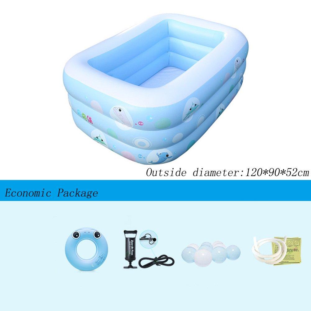 長方形インフレータブルプール3つのリング青い厚い家庭の子供のパドリングプール120 * 90 * 52センチメートル  Economic Package B07CPQGZRC