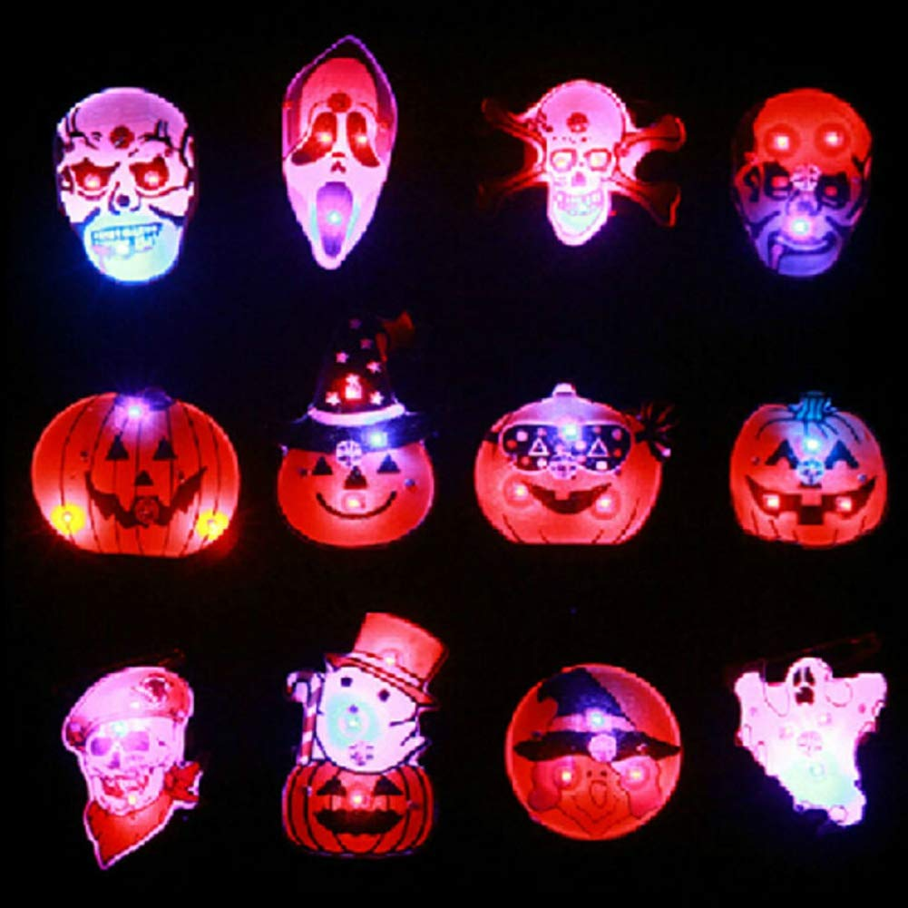 Taykoo Halloween Brooch,Toys & Gifts - Pier Pumpkin Orange Flashing Picture Pins Buttons Make Glowing Badge - 12pcs Kids Halloween Led Brooch Halloween Kids Party Supplies Led Flashing Light Brooch