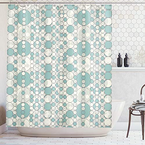 - Ambesonne House Decor Collection, Circles Lattice Pattern in Abstract Style Faded Simplicity Contemporary Design Print , Polyester Fabric Bathroom Shower Curtain Set with Hooks, Gray Light Teal