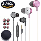 NBXD In-Ear Headphones, wired Earphones, with remote control and microphone for iPhone6 6s 6plus 5 5s 5c 4s 4 iPad iPod Samsung Huawei Android and other smartphones (2pack white + black) (Silver and rose gold)