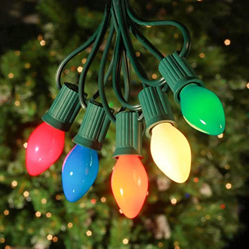 SkrLights 25Ft Vintage Christmas String Lights C7 Ceramic Multicolor Lights with 27 Colorful Incandescent Bulbs 2 Spare , Outdoor String Lights for Party Backyard Christmas Wedding etc, Green Wire