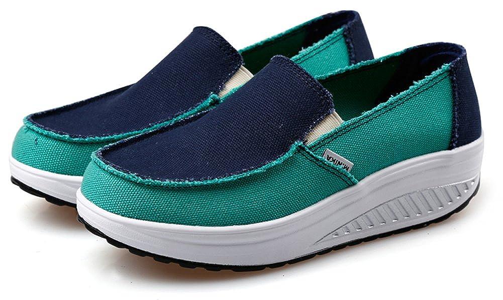 de22df63faf98 Amazon.com | Ausom Women's Slip-On Swing Wedges Casual Canvas Shoes ...