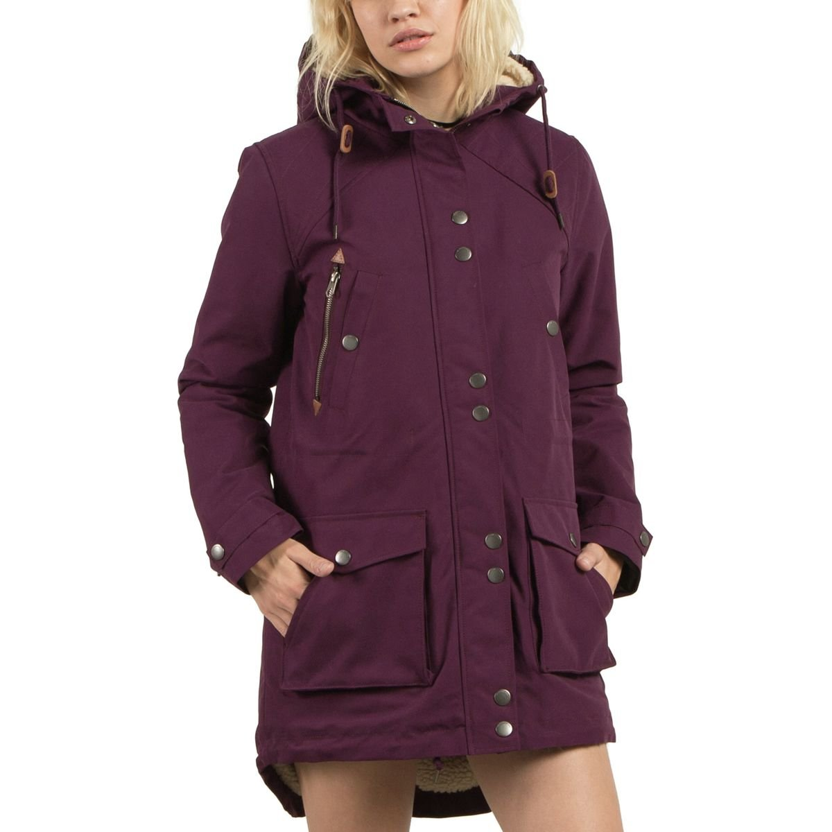 Volcom Women's Walk On By Parka Plum Small