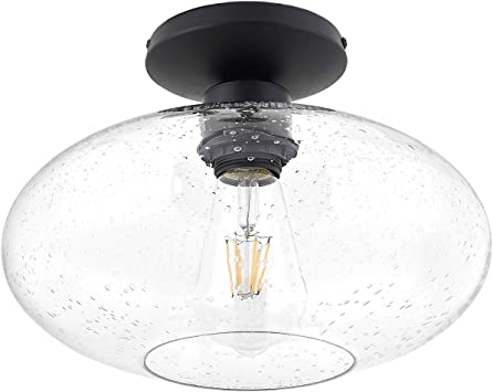 WIHTU Semi-Flush Ceiling Light Fixture Industrial Farmhouse Close to Ceiling Light for Hallway for Entryway E26 Base Matte Black Ceiling Lightings with Clear Tempered Glass Lampshade and E26 Base