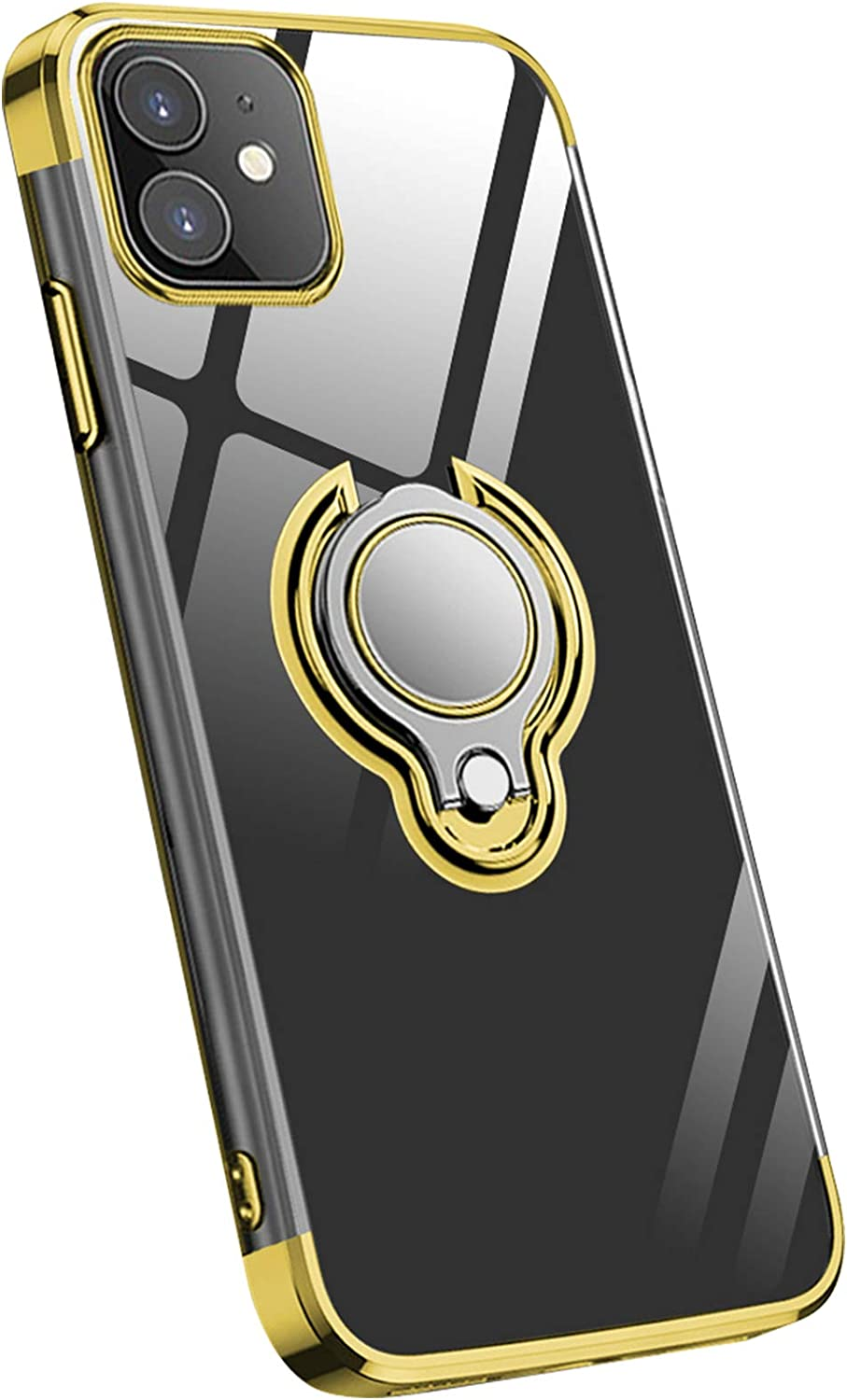 Smartphone Case for iPhone 12/iPhone 12 Pro Clear TPU with Gold Electroplate Bumper Shockproof Impact Protection Slim Flexible 360°Rotation Ring Kickstand Designed for iPhone 12/12 Pro【6.1 inch】