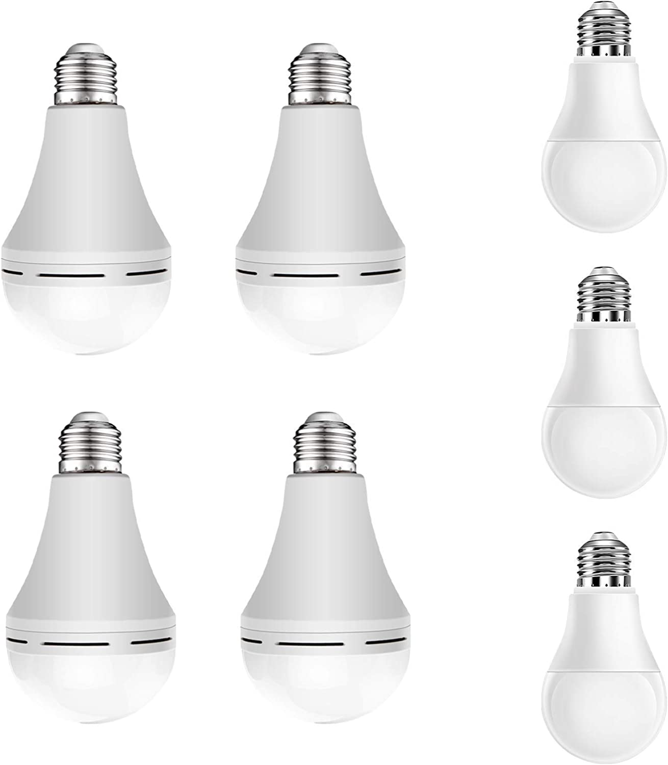 【5% Off Bundle】 Neporal 4PK Daylight 15W Emergency Rechargeable Light Bulb for Home Power Failure & 3PK Daylight 9W Normal LED Light Bulb