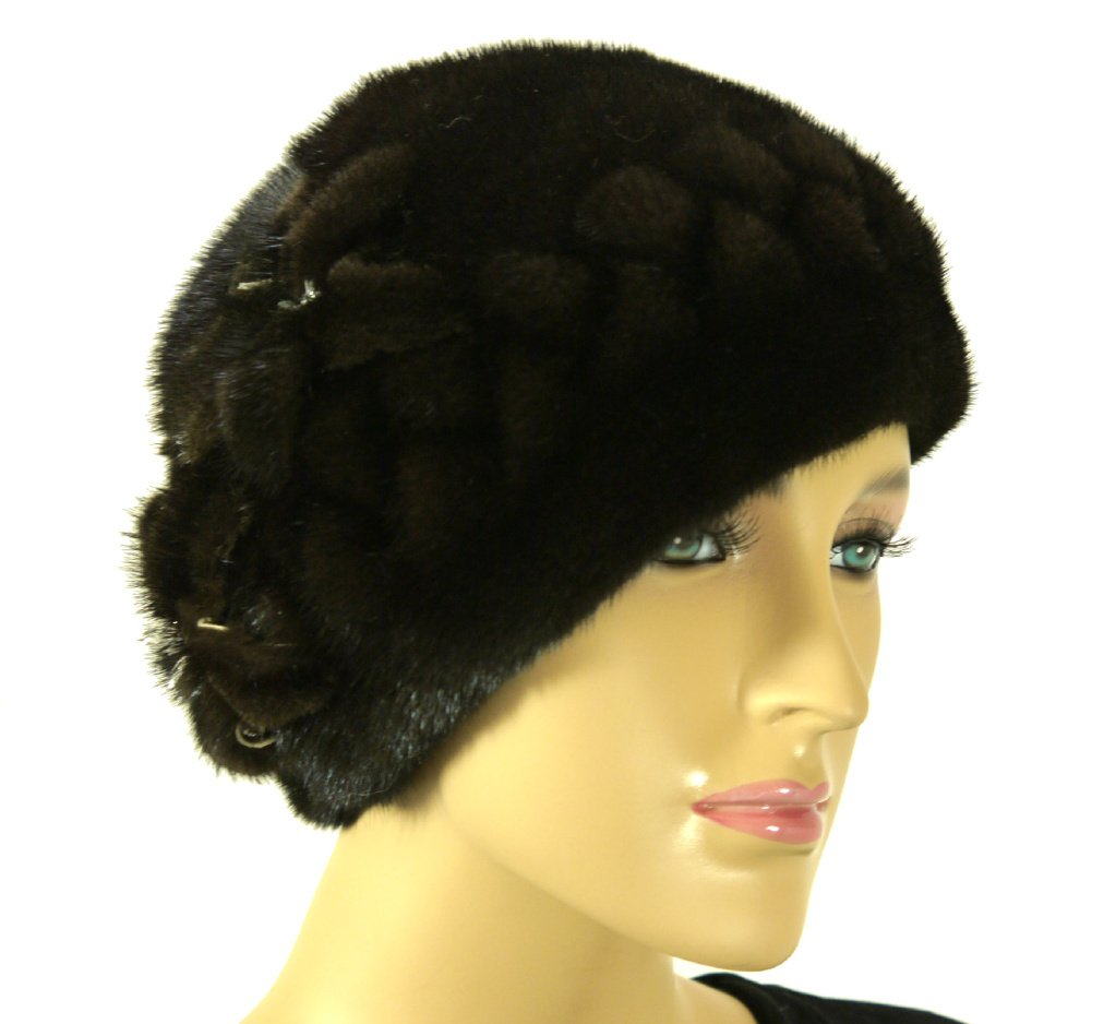 Mink Fur Hat with Flowers - Brown