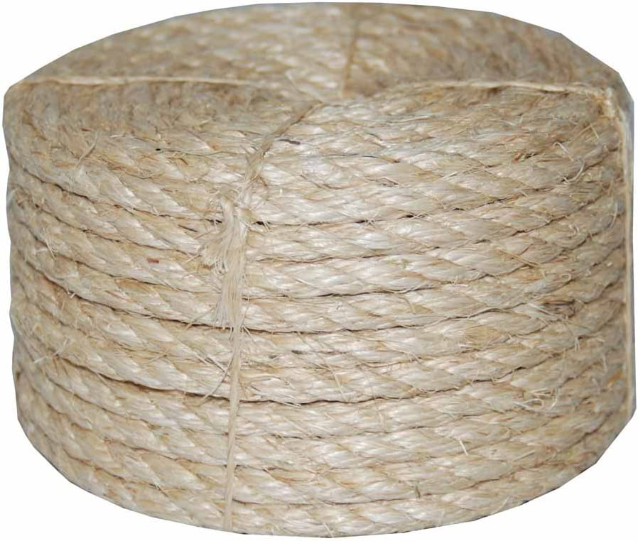 x 100 ft Durable Natural Fiber Non Wire Browns Tans Twisted Sisal Rope 3//8 in