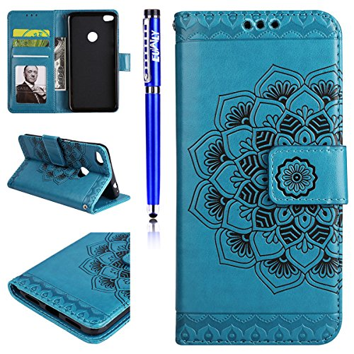 EUWLY Leather Case for Huawei P8 Lite 2017,Huawei P8 Lite 2017 Leather Wallet Case, Sunflower Embossed Ultra Slim Leather Case with Magnetic Closure And Lanyard Anti-scratch Anti-Shock Card Slots and Blue