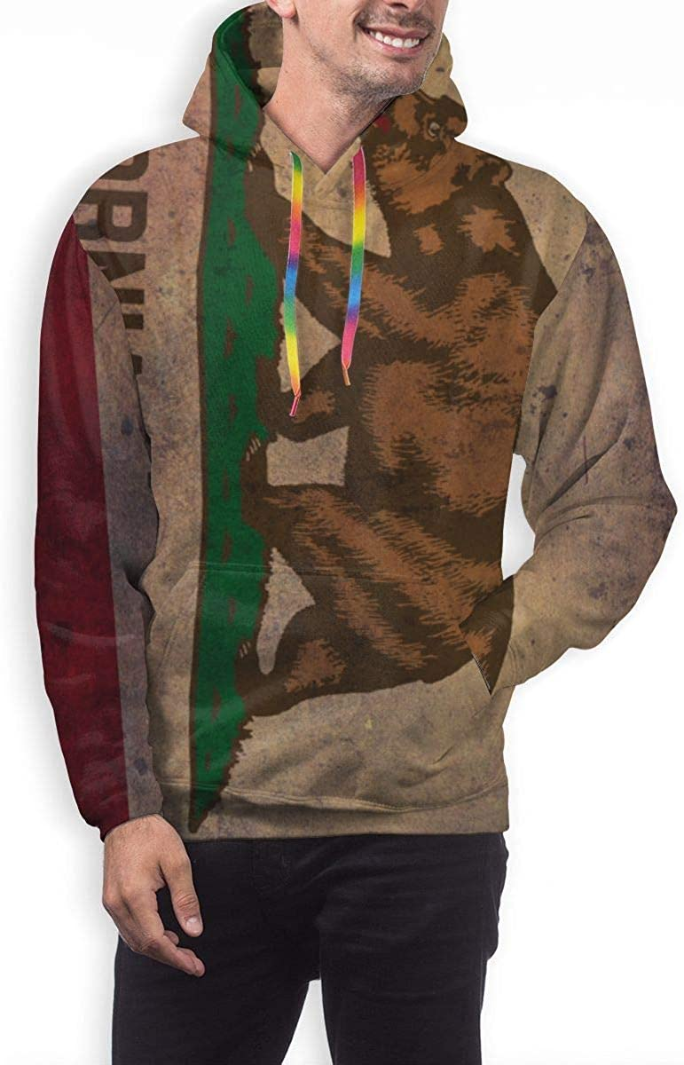 Mens Long Sleeves Hoodies Sweatshirts Fit Streetwear California Republic Bear Grunge Flag