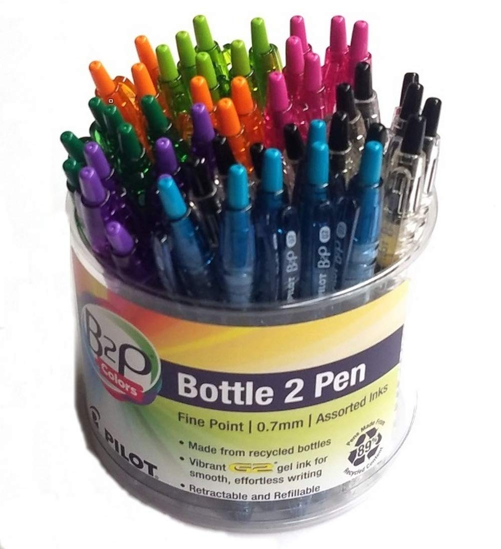 Pilot Bottle-2-Pen B2P Retractable Color Pens with Gel Ink Display Tub, Fine Point.7mm, Assorted Colors, 48 Pens