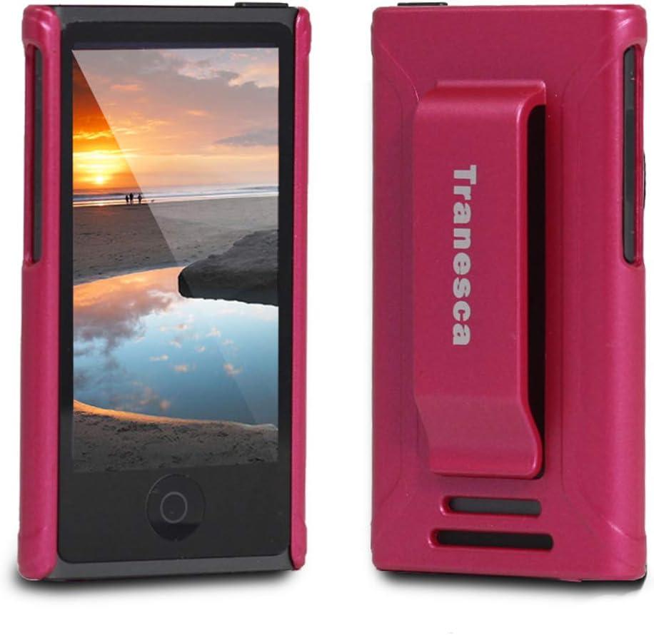 iPod Nano 7 case,Tranesca iPod Nano 7th & 8th Generation Rubber Cover Shell case with Belt Clip - Rosy Pink
