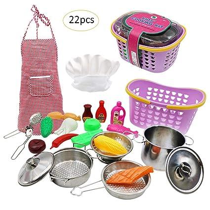 Juego de Juguete de Cocina de Cocina simulada para niños 22 Piezas ...