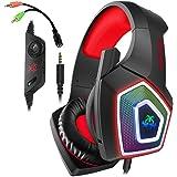 Audífonos Gamer para PS4 Auriculares para juegos con micrófono Luz LED en la oreja Auriculares para juegos PS4, 3,5 mm Auricu