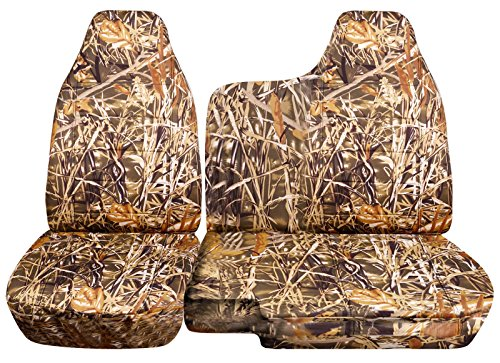 1998-2003 Ford Ranger/Mazda B-Series Camo Truck Seat Covers (60/40 Split Bench) - No Armrest/Console: Wetland Camouflage (16 Prints) 1999 2000 2001 ()