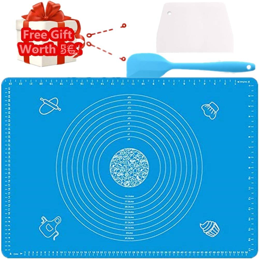 Nifogo Silicone Baking Mat Pastry Rolling Mat Non-Stick Large with Measurements Scraper Gift Reusable Flexible Easy to Clean BPA Free for Fondant Pizza Breads 40X60cm Red