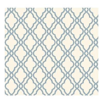 York Wallcoverings WA7706 Waverly Classics Hampton Trellis Wallpaper, Delft Blue/Pure White