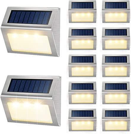 1-12PCS LED Solar Power Fence Light Outdoor Garden Security Wall Path Step Light