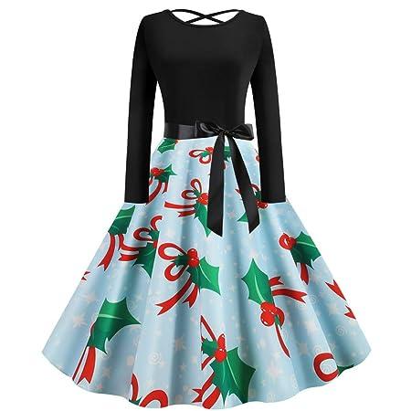 ღLILICATღ Navidad Vestido Mujer Slim Fit Vestidos Estampado ...