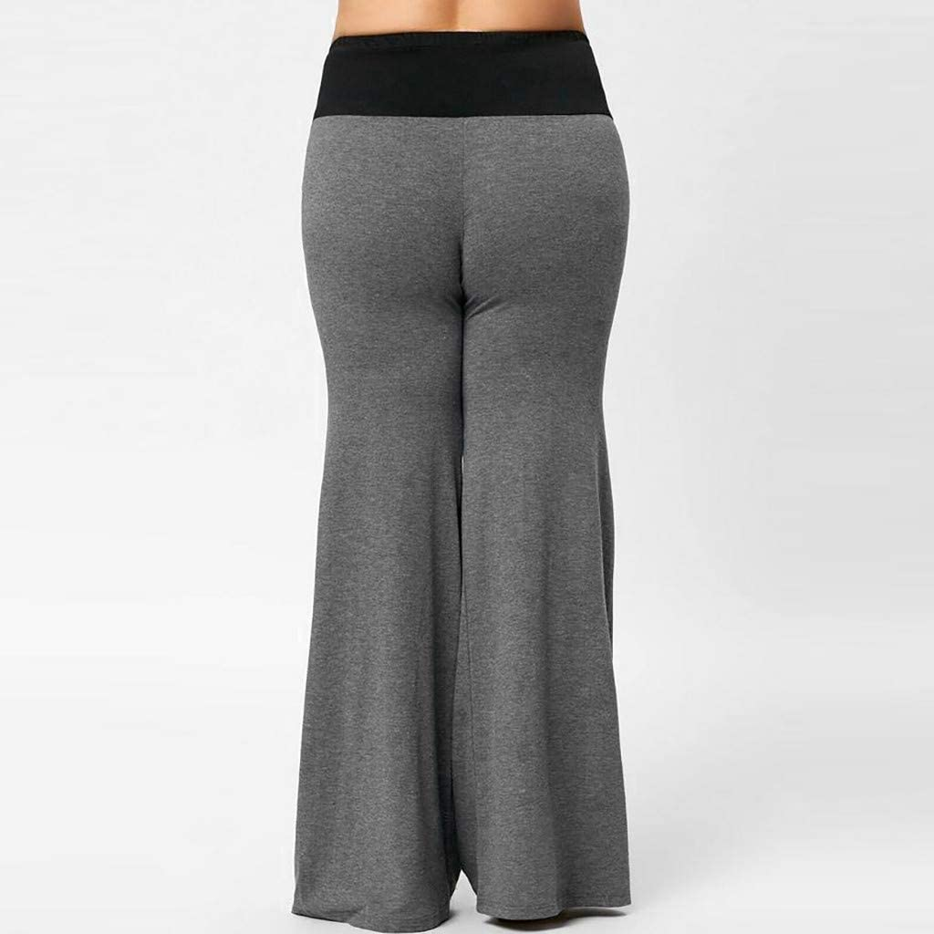 RTYou Womens Loose Flare Pants Comfy High Waist Wide Leg Long Palazzo Pants Bandage Lounge Stretchy Yoga Leggings
