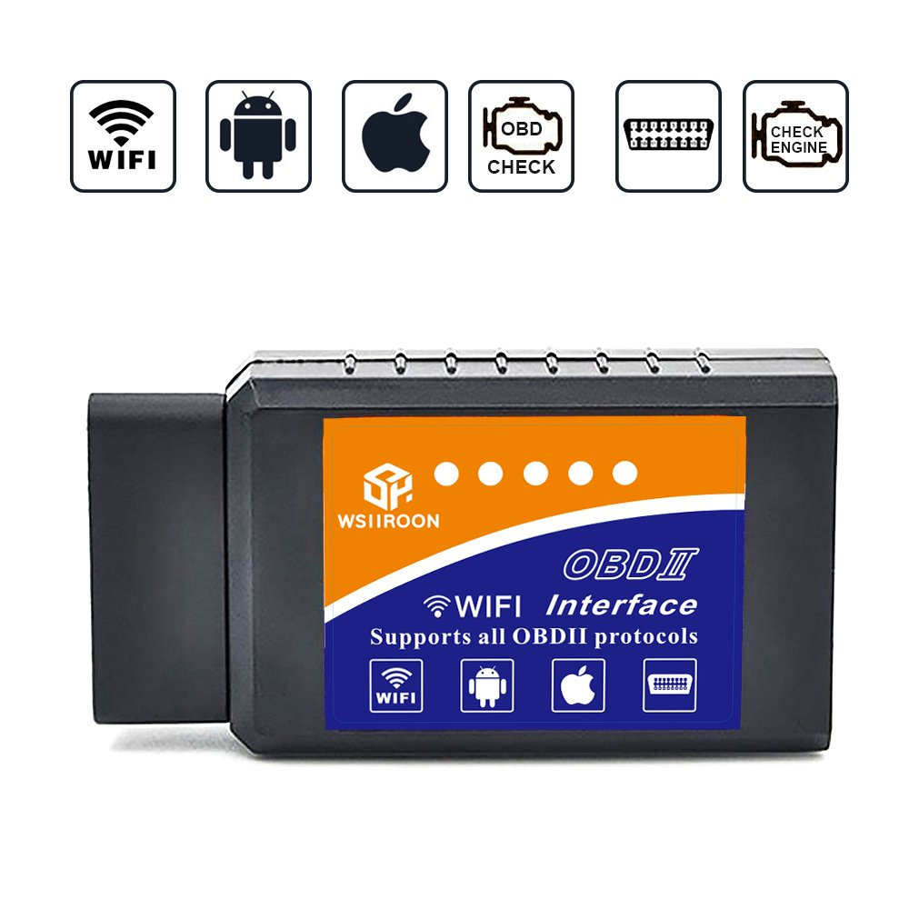 wsiiroon Car WiFi OBD 2, Wireless OBD2 Car Code Reader Scan Tool,Scanner Adapter Check Engine Diagnostic Tool for iOS Apple iPhone iPad Air Mini iPod Touch & Andorid