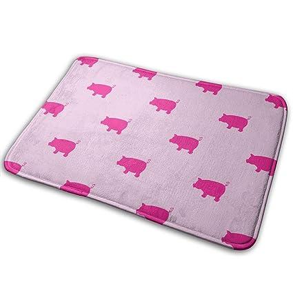"""24X16/"""" Shower Floor Door Mat Bathroom Mat Cute Pig Animals Non-slip Memory Foam"""