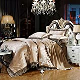 LightInTheBox Gray Gold Bedding Set Queen King Size Luxury Silk Cotton Blend Lace Duvet Cover & Pillowcases Set Jacquard Pattern(Set of 4) (King)