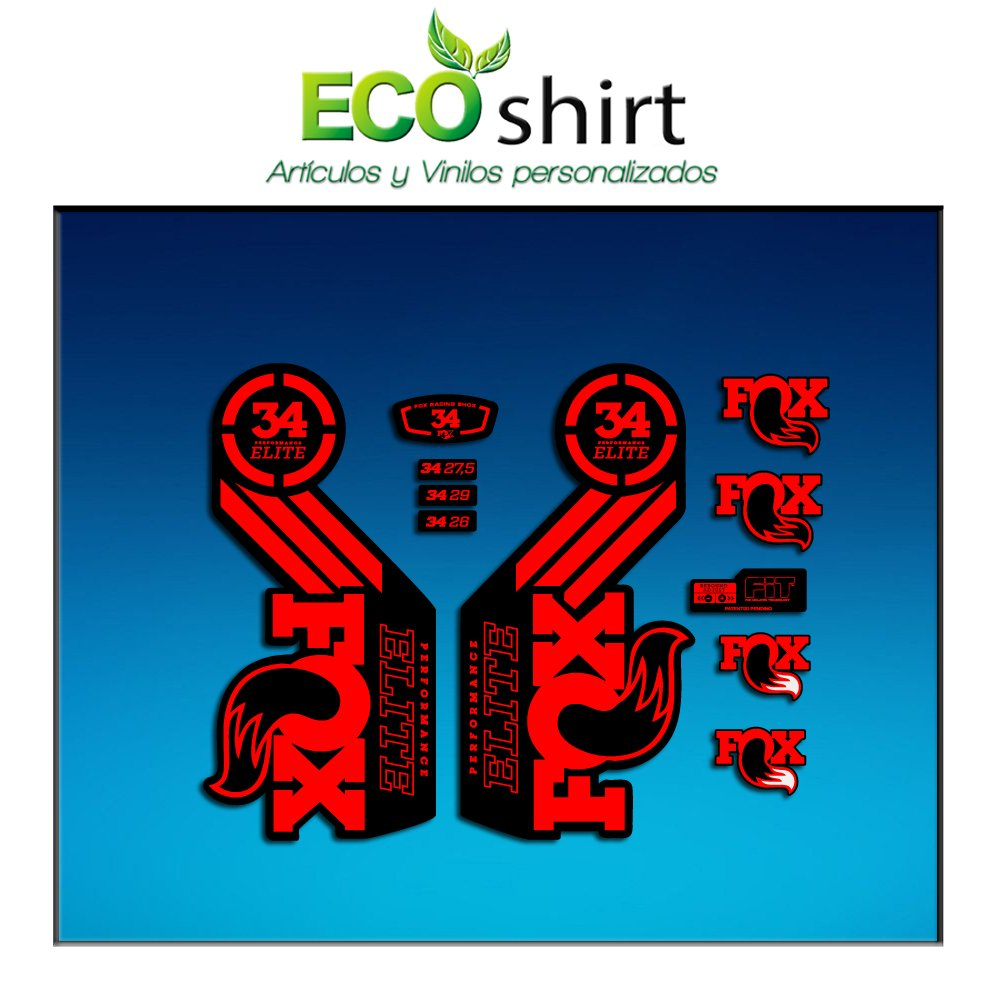 Ecoshirt Y9-MZH2-ARP8 Stickers Fork Fox 34 Performance Elite 2016 Am101 Aufkleber Decals Autocollants Adesivi Forcela Gabel Fourche Red