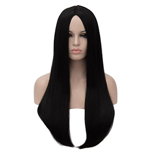 70s Headbands, Wigs, Hair Accessories Aosler Womens Black Long Wig24 Straight Yaki Synthetic Hair Wigs Heat Friendly Cosplay Party Costume Wigs for Halloween $17.98 AT vintagedancer.com