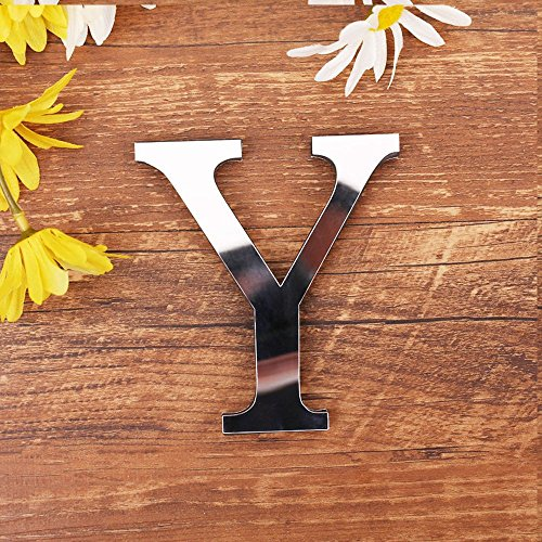 - maxgoods DIY Alphabet Letters,3D Mirror Wall Stickers 26 Letters Heart & Shape Arbitrary Collocation Room Nursery Hanging Decor For Home Office Wedding Party