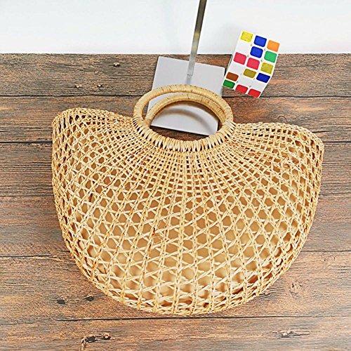 Style Shopping Eco Friendly Handbag Yellow Casual Hand Large Knitted Beach Bag Prom Summer Cutout Note Grass Straw Tote Braided Retro Bag Beach Handbag Bag UcRWXWaT