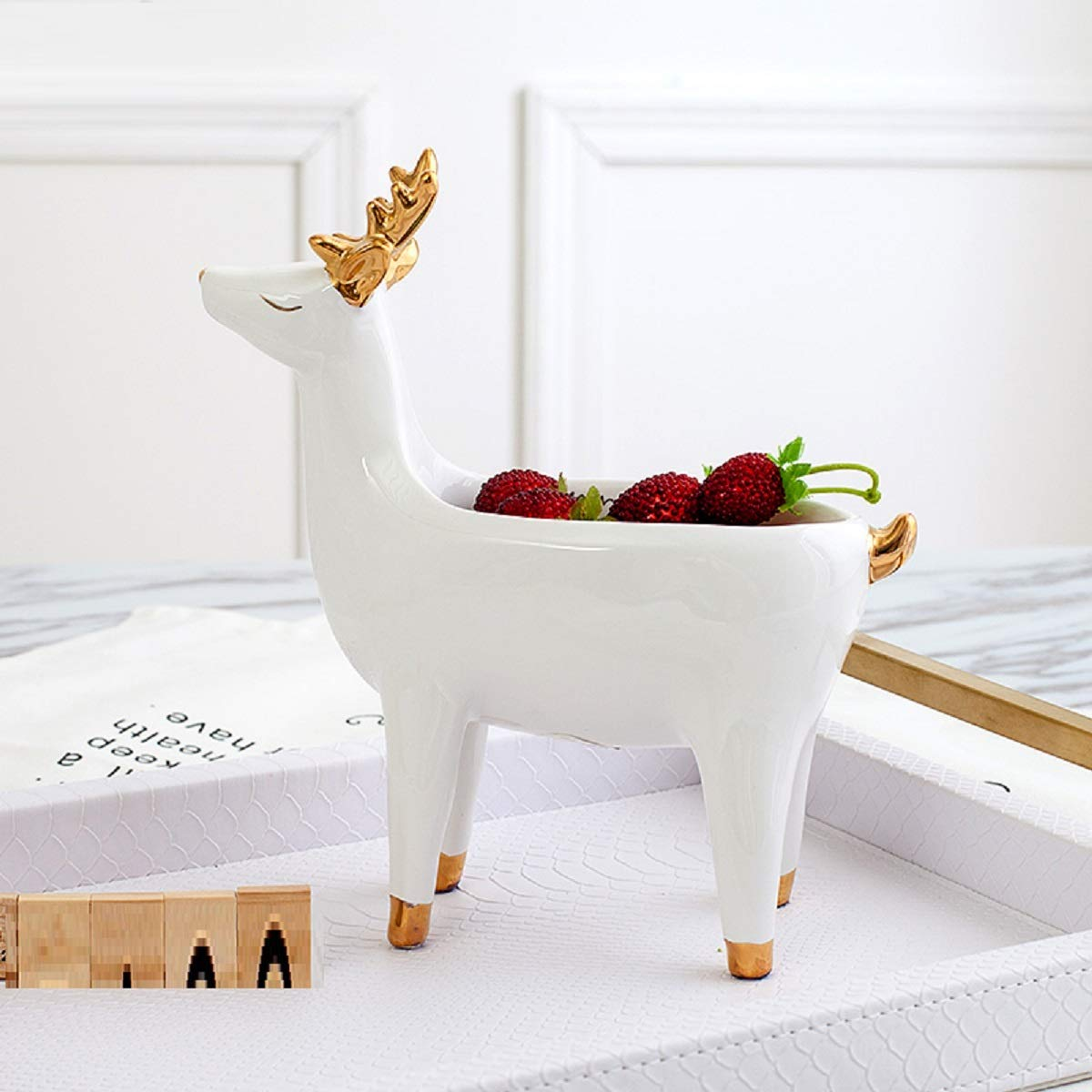 JUIANG Small Deer Storage Box Ceramic Nordic Animal Shape Porch Key Candy Dish Dried Fruit Plate Creative Living Room Debris Storage Ornaments