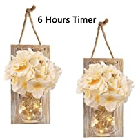 RBHK 2 Pack Mason Jar Sconces for Wall Decor with LED Fairy Lights, Decorative Chic Hanging House Decor Mason Jars, Silk Hydrangea, 6-Hour Timer, Home Decor