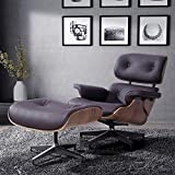 RECLINER GENIUS 100% Grain Italian Leather Recliner Lounge Chair with Ottoman (Brown)
