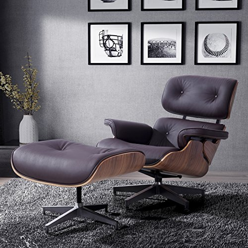 Grain Italian Leather Recliner Lounge Chair with Ottoman (Brown) (Eames Lounge Ottoman)