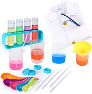 iHaHa Science Experiment Kit for Kids, 23PCS Lab Coat Scientist Role Play Costume Toys for Kids Pretend Play Dress Up, Christmas Halloween Birthday Party Gift for Boys Girls Kids Ages 3+