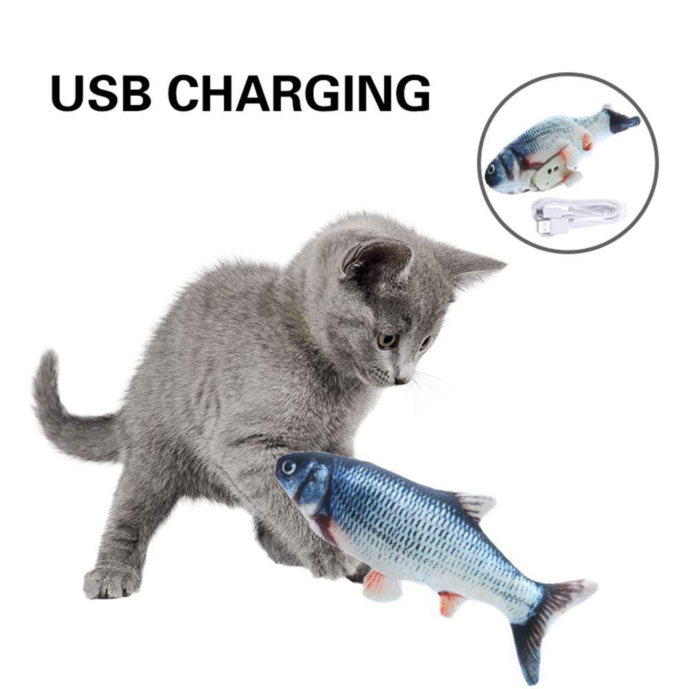 30cm Gato el/éctrico Wagging Fish Toys USB Recargable autom/ático simulado Felpa Gato Pescado Juguete Interactivo Gato Juguete Gato Masticar Juguetes Handfly Juguetes de Peces el/éctricos para Gatos