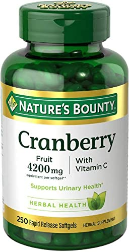 Nature's Bounty Cranberry with Vitamin C 4200 mg, 250 Softgels Pack of 4