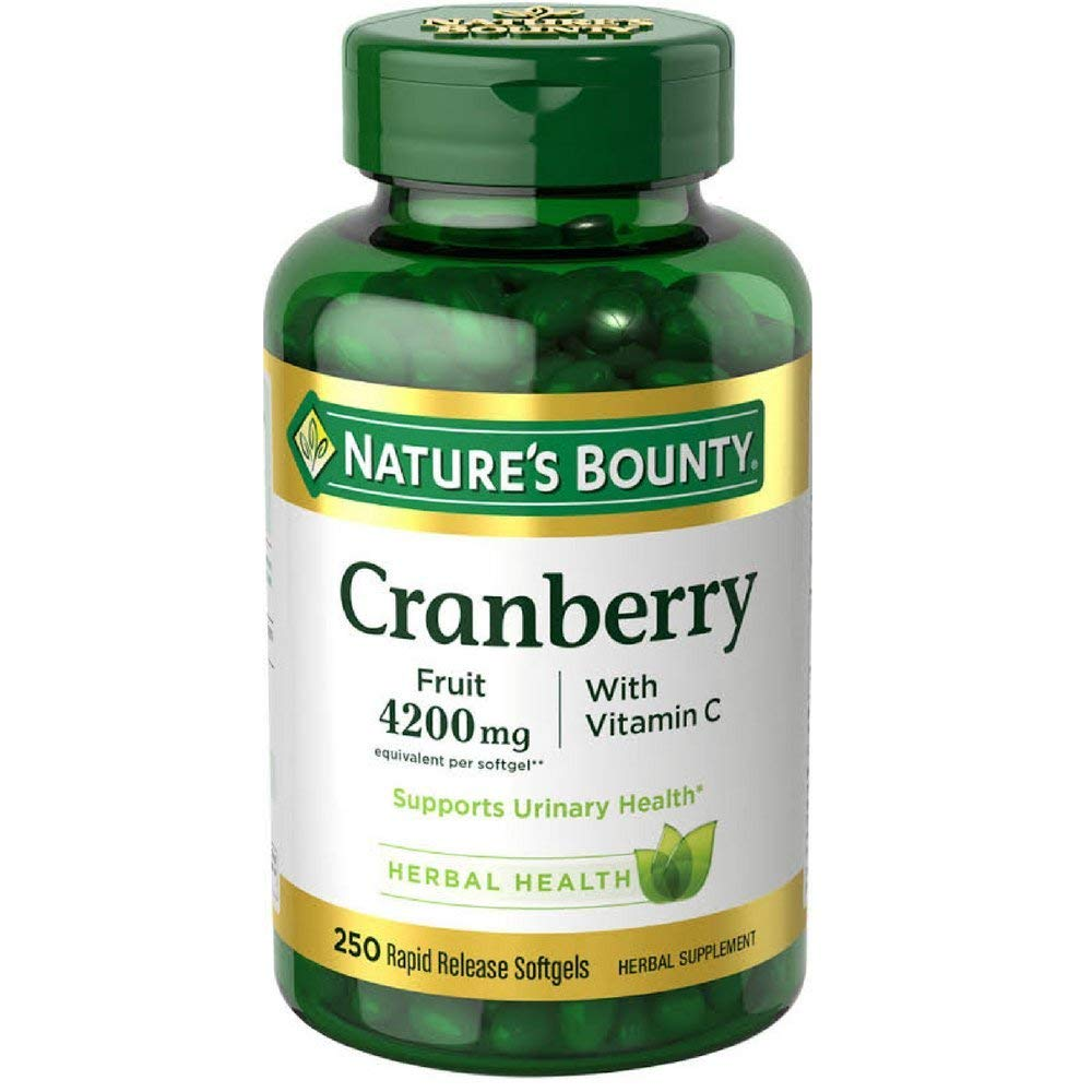 Nature s Bounty Cranberry with Vitamin C 4200 mg, 250 Softgels Pack of 5