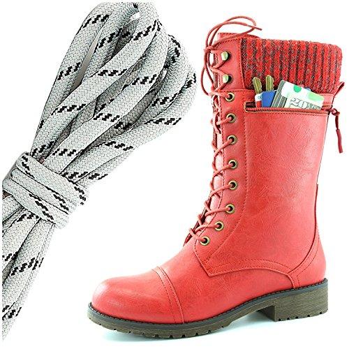 Dailyshoes Womens Style De Combat Lacets Cheville Bottine Bout Rond Militaire Knit Carte De Crédit Couteau Argent Portefeuilles De Poche, Gris Noir Rouge Pu