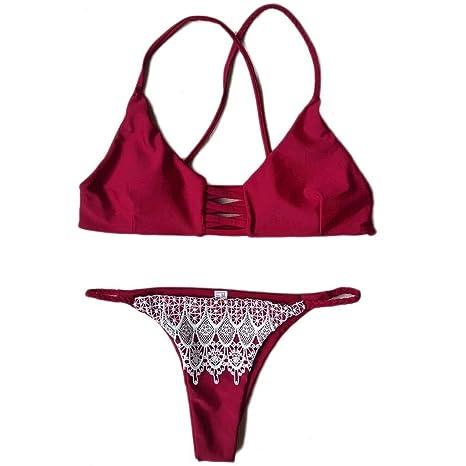 GAIHU Borde de puntilla roja Dividida en Traje de baño de Gran tamaño SPA bañador Bikini