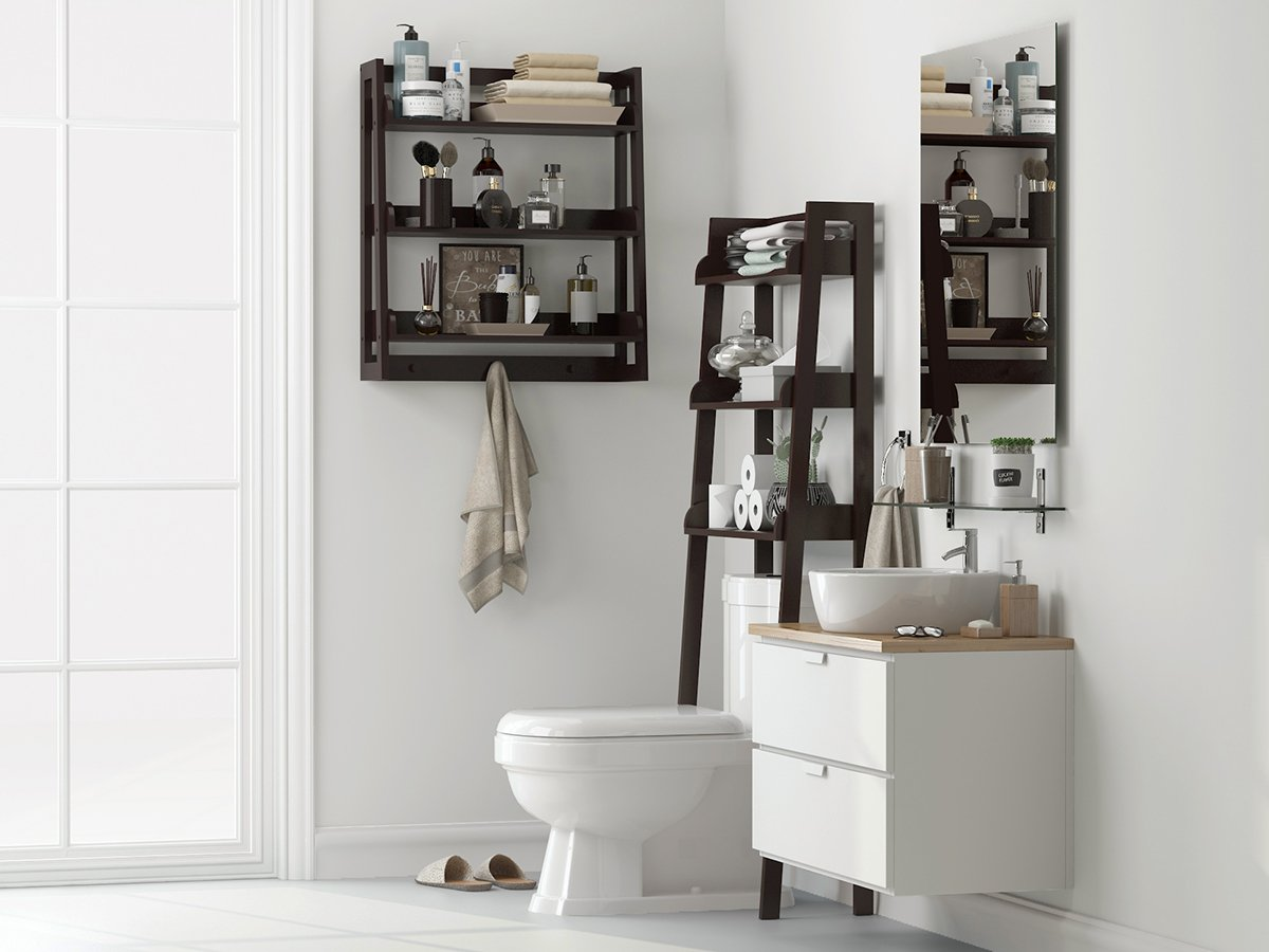 51bd7ded101 ... UTEX 3 Tier Bathroom Shelf Wall Mounted with Towel Hooks