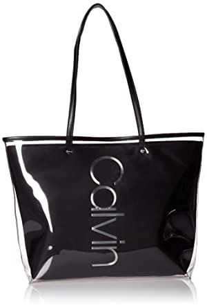 f0340d0ce3 Calvin Klein Mallory Clear PU East/West Vertical Branding Tote, Black