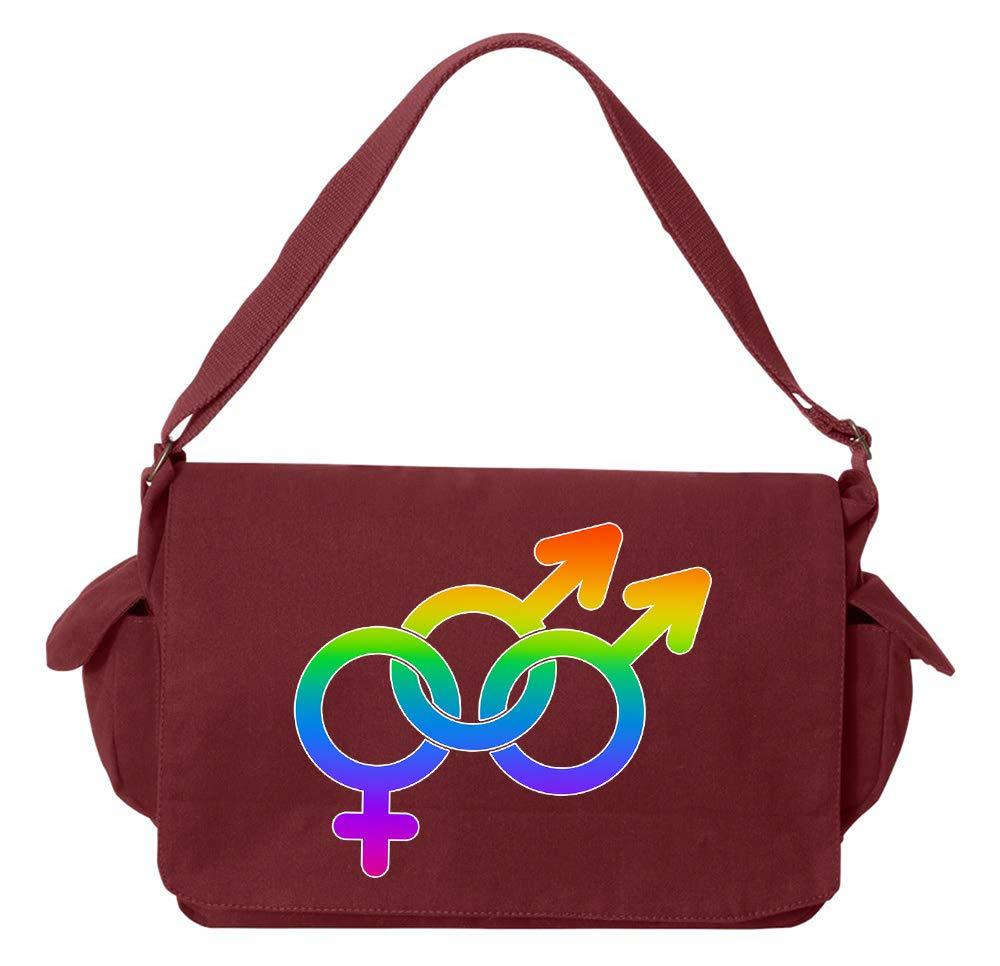 Tenacitee LGBTQ Bisexual Man Pride Flamingo Raw Edge Canvas Messenger Bag