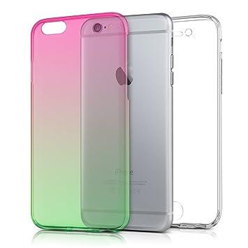 kwmobile Funda para Apple iPhone 6 / 6S - Carcasa [360] de [TPU] con diseño Bicolor - Cover [Rosa Fucsia/Verde/Transparente]