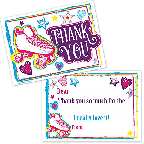 Roller Skating Kids Fill In Thank You Cards - Girls Birthday Skate Party Thanks (20 Count with Envelopes) -